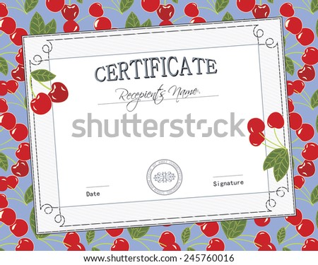 KID CERTIFICATE - stock vector