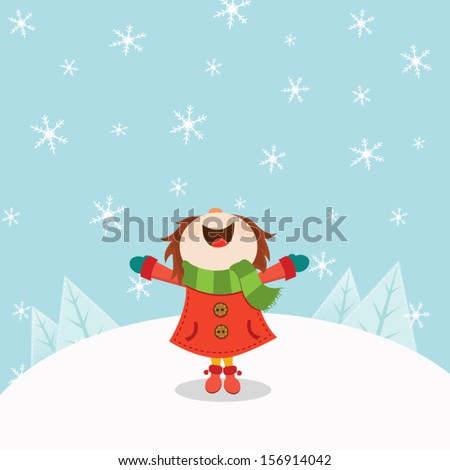 Kid Enjoying Snow - stock vector