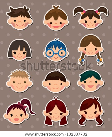 kid face stickers - stock vector