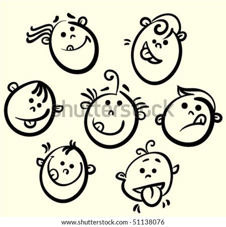 Kid face vector cartoon - stock vector