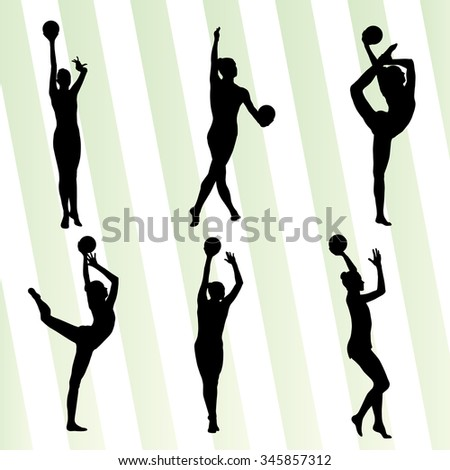 Kid girl with ball rhythmic gymnastics vector background set