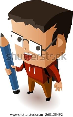Kid going to school. Vector Illustration - stock vector