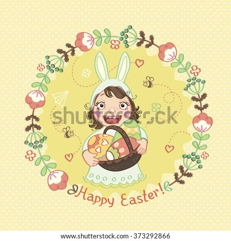 """Kid in a rabbit suit. Basket, Easter eggs, the words """"Happy Easter"""". - stock vector"""