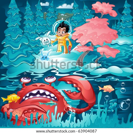 Kid in a space suit walking cautiously through the forest with little aliens as they approach a giant crab - stock vector