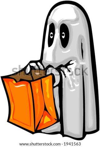 kid in ghost costume - stock vector