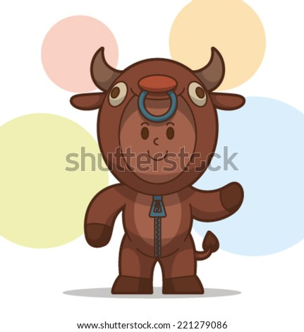 kid in the animal costume, bull, vector - stock vector