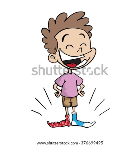 Kid Laughing And Wearing Different Colored Socks