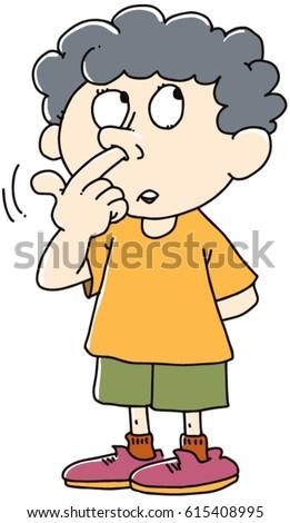 Kid Picks His Nose Stock Vector 615408995 - Shutterstock