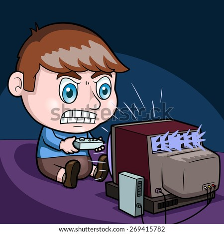 Kid playing a video game - vector illustration - stock vector