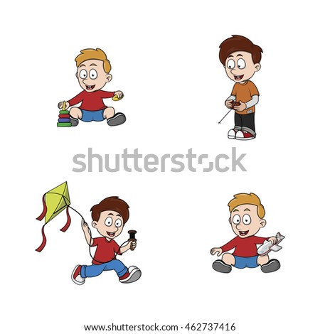 kid playing illustration design collection