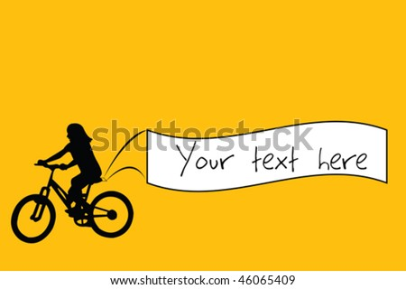 Kid riding a bike and holding a banner with place for sample text - stock vector