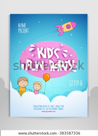 Kid's Fun Party celebration Flyer, Banner or Pamphlet. - stock vector