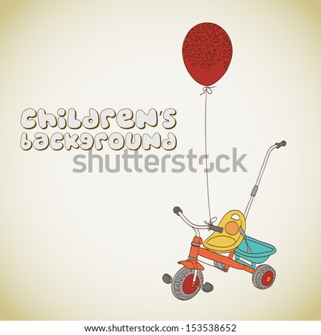 Kid's tricycle and balloon with hearts background  - stock vector
