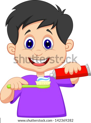 Kid squeezing tooth paste on a toothbrush - stock vector