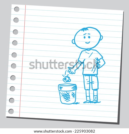 Kid throw garbage in garbage can - stock vector