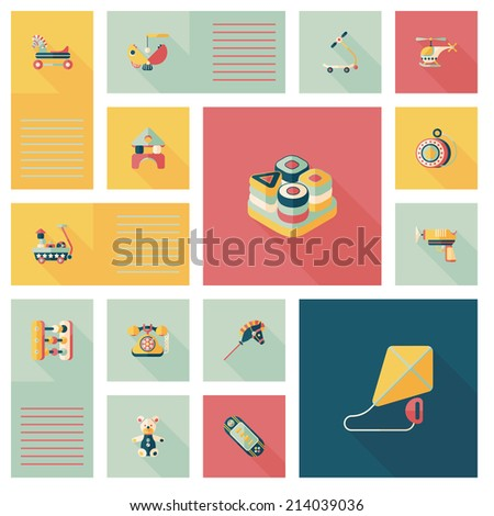 kid toys flat ui background,eps10 - stock vector