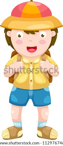 Kid vector illustration on a white background - stock vector