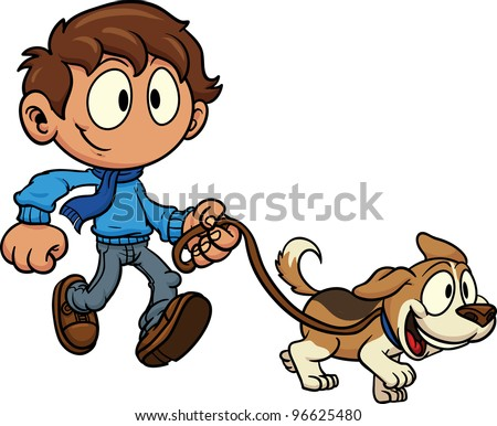 Kid walking dog. Vector illustration. All in a single layer. - stock vector