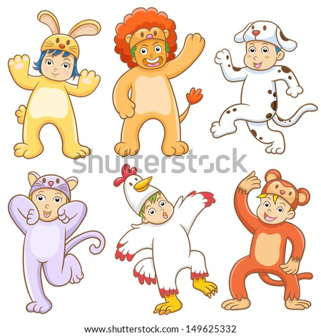 Kid with animals costume. EPS10 File  no Gradients, no Effects, no mesh, no Transparencies.All in separate group for easy editing. - stock vector