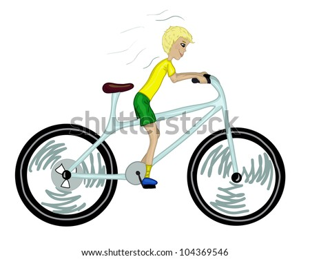 Kid with too big bicycle. Color version. Vector illustration eps8 - stock vector