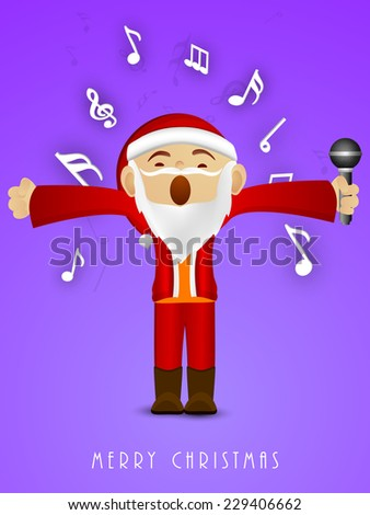 Kiddish Santa Claus holding microphone in his hand and singing jingle for Merry Christmas on purple background. - stock vector