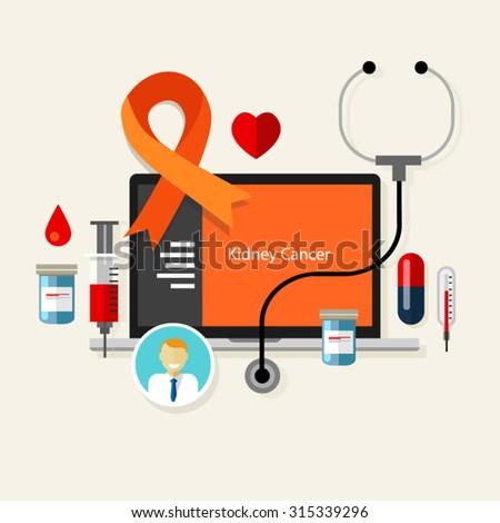 kidney cancer  medical orange ribbon treatment health disease   - stock vector
