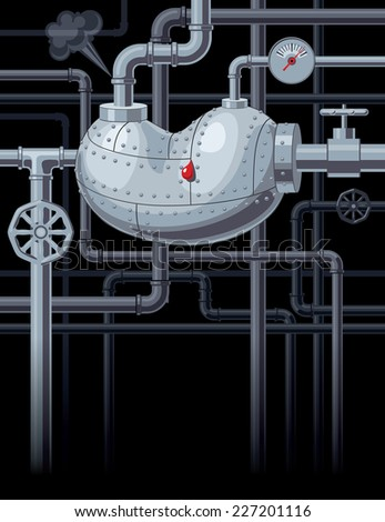 Kidney with pipes. Eps8. CMYK. Organized by layers. - stock vector