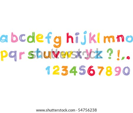 Kids alphabet lowercase - stock vector
