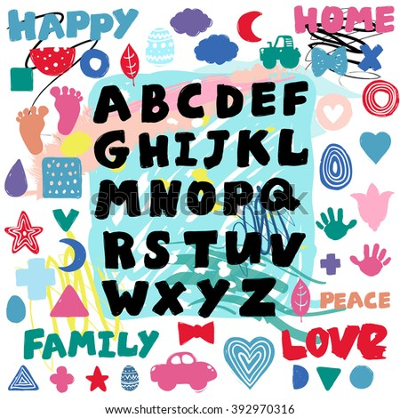 Kids alphabet poster for nursery or children's room. Hand drawn graphic alphabet type composition with cute colored minimalistic scandinavian cartoon elements on artistic watercolor background.  - stock vector