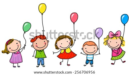 Kids and balloon - stock vector