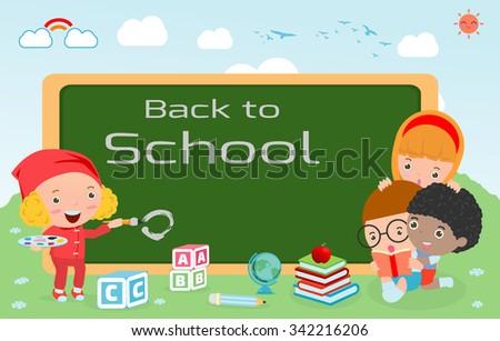 kids and blackboard, Children and board, kids education, education concept, back to school template with kids, Kids go to school, back to school, Cute cartoon children, happy children, Vector - stock vector