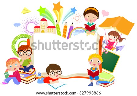Kids and book frame - stock vector