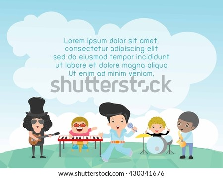 Kids and music, Children playing Musical Instruments, child and music, kids playing Musical,Template for advertising brochure,your text ,Cute little Kids and music, guitar drums bass saxophone piano.  - stock vector