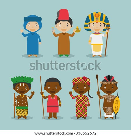 Kids and nationalities of the world vector: Africa Set 2. Set of 7 characters dressed in different national costumes (Morocco, Algeria, Egypt, Congo, Kenya/Masai, Mali and South Africa/Zulu). - stock vector