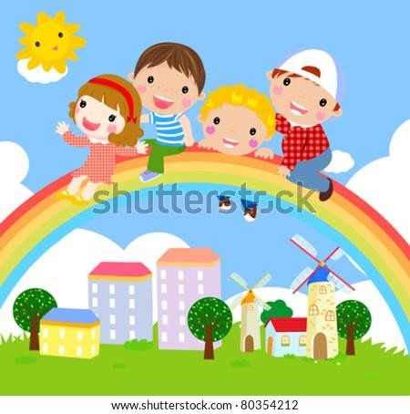 kids and rainbow-vector - stock vector