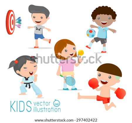 kids and sport, Kids playing various sports on white background , Cartoon kids sports,boxing, football,  tennis, karate, Darts, Vector illustration - stock vector