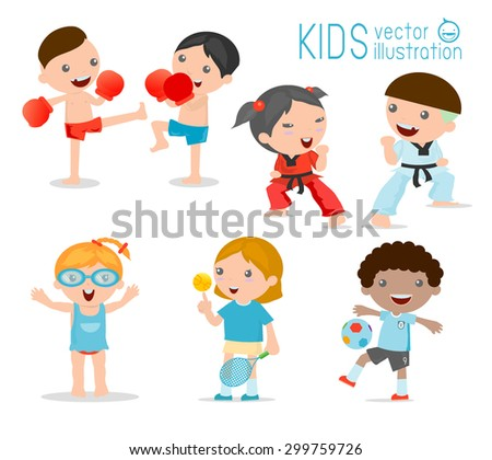 kids and sport, Kids playing various sports on white background , Cartoon kids sports,boxing, football, tennis, Taekwondo, karate,  Swimming,Vector illustration - stock vector