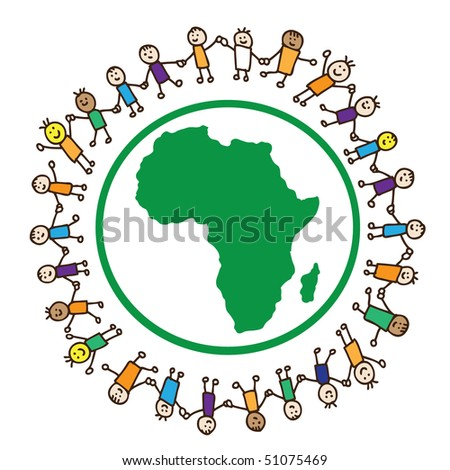 Kids around Africa continent - stock vector