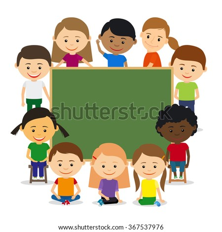Kids around chalkboard. Kids education and childrens training concept. Vector illustration - stock vector