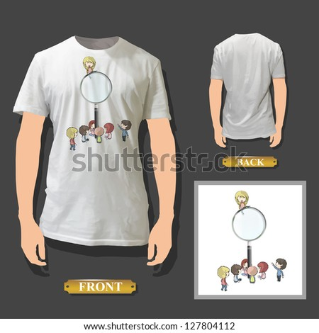Kids around magnifying glass printed on white shirt. Vector design. - stock vector