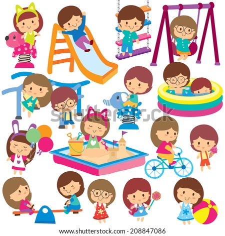 kids at playground clip art set - stock vector