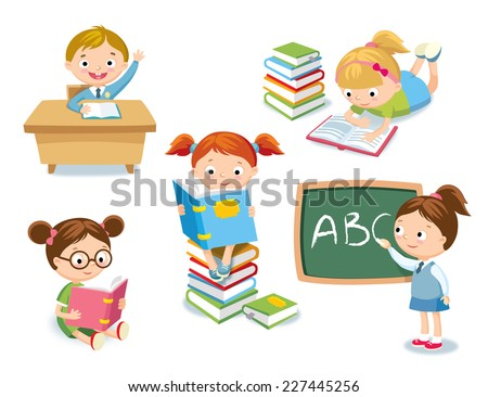 kids at school - stock vector