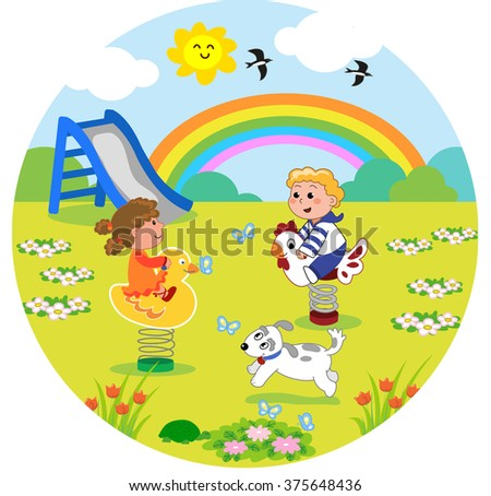 Kids at the playground in round size vector illustration