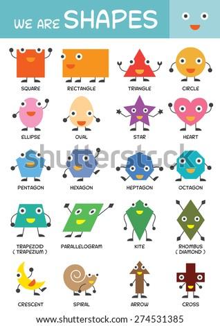 Kids Basic Shapes Chart Kindergarten Preschool Stock Vector ...