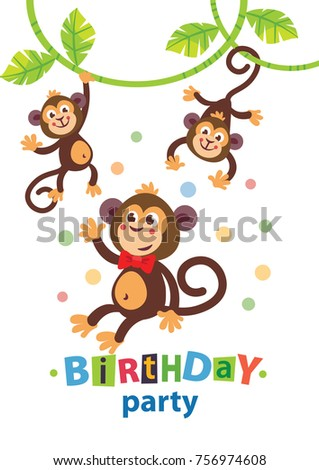 Kids birthday invitation card cute cartoon stock vector 756974608 kids birthday invitation card with cute cartoon animal stopboris Images
