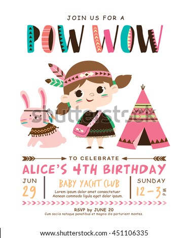 Kids birthday invitation card cute little stock photo photo vector kids birthday invitation card with cute little girl and rabbit stopboris Images