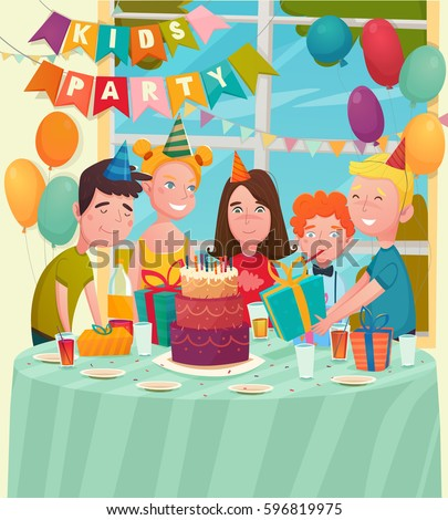 Kids Birthday Party Background Flat Characters Stock Vector 2018