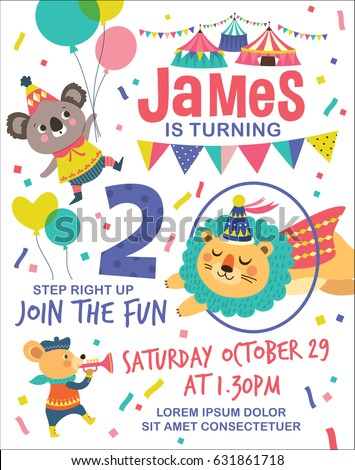 Kids birthday party invitation card circus stock vector hd royalty kids birthday party invitation card circus stock vector hd royalty free 631861718 shutterstock filmwisefo Images