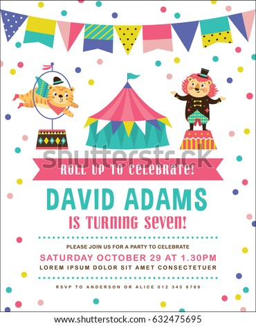 Kids birthday party invitation card circus stock vector 632475695 kids birthday party invitation card with circus theme stopboris Gallery
