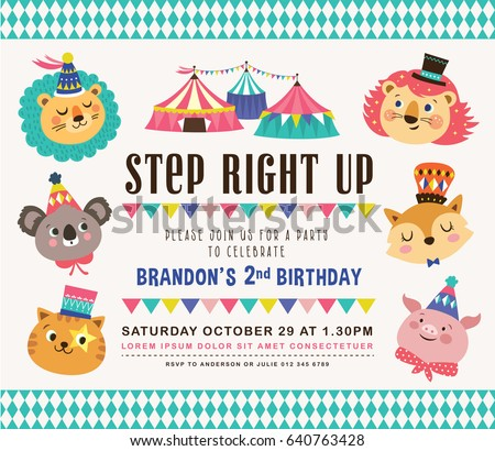 Kids Birthday Party Invitation Card Circus Stock Vector 2018